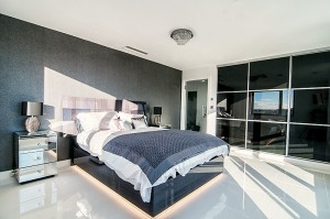 interior of black and white bedroom
