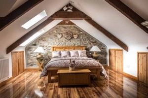 romantic bedroom with polished wooden floors