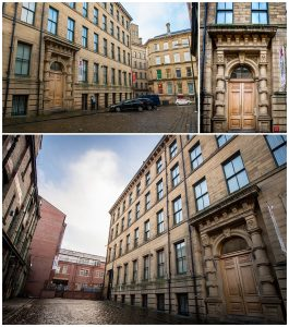 Exteriors of Albion House in Bradford ad old mill building