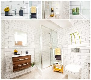 House Interior image of bathroom with white brick tiles