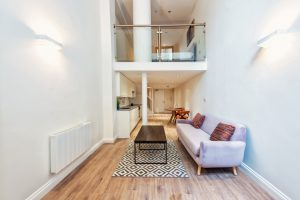 interior shot of an appartment with mezzanine floor