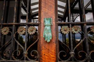 hand door knocker in copper