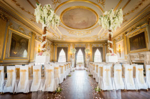 room at Knowsley hall in preparation for a wedding